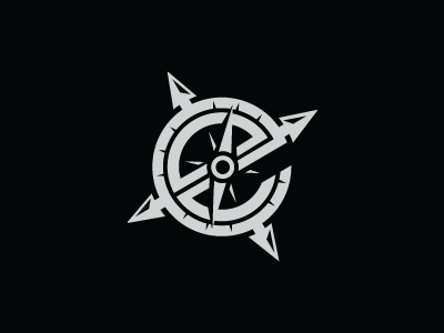 E. e explorer exploration compass needle watch outdoor scuba water dark vintage point world ruller letter s steva logo