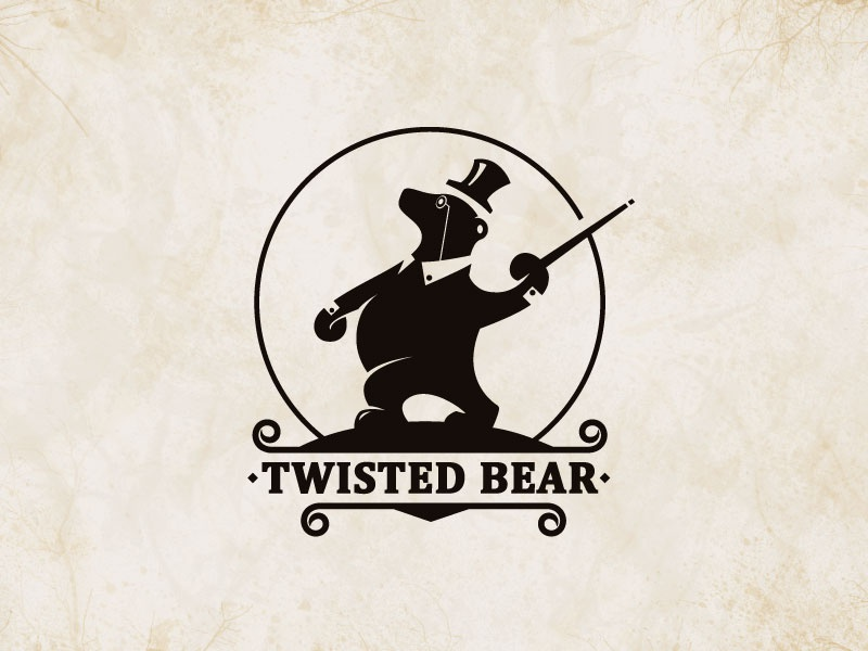 Twisted Bear twist bear animal hat walk retro circus logo vintage monocle collar
