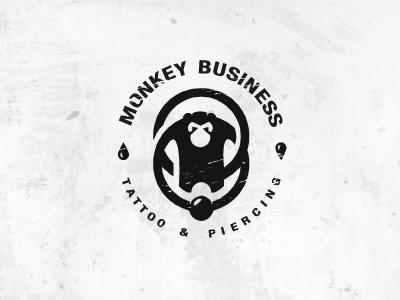 Monkey Business. monkey business circle earings piercing tattoo shop logo animal jungle