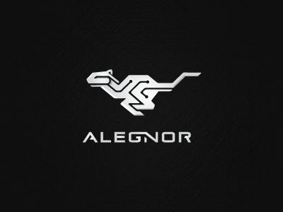 Alegnor link race wire swift tech cyber future velocity quick alegnor software speed animal cheetah run techy logo s stevan web technology typo
