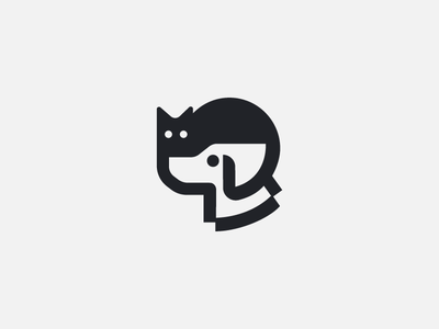 cat & dog black shape icon simple space negative logo animal vet pet dog cat