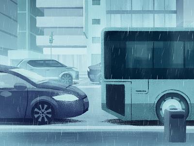 In the Rain vehicles gloomy moody modern cars road bus street traffic rainfall rain