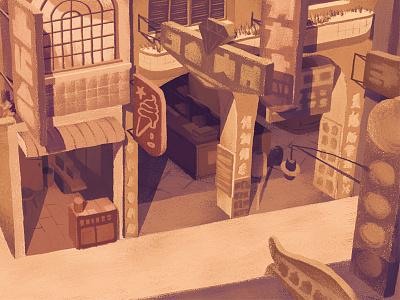 Old Market 3 warm vintage time street shop retro old nostalgia memory market history gouache