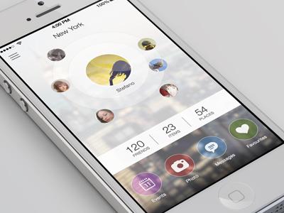 People Around App ios7 iphone blur minimal app ui ux mobile flat iphone5
