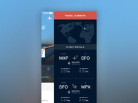 Travel app menu