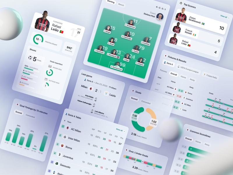 Football App UI acmilan product design desktop design system app