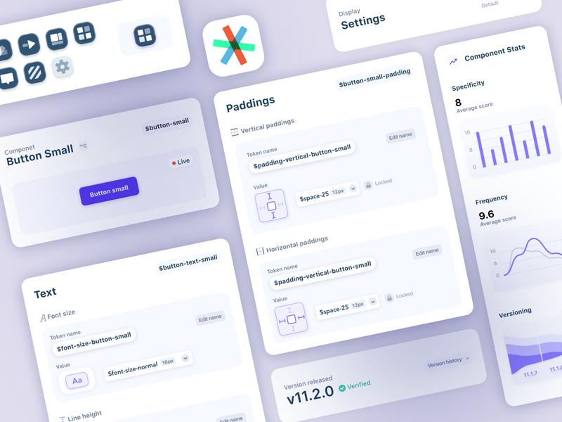 Design System - GUI creator App dashboard components elements visual library desktop app product design system ux ui