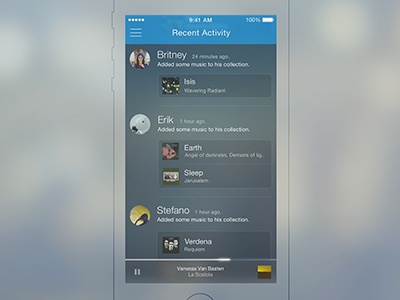 rdio -  Recent Activity page iphone app apple ios7 ui ux rdio music mockup freebie sketch3