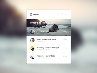 NewsFeed Widget ui clean flat ux widget news