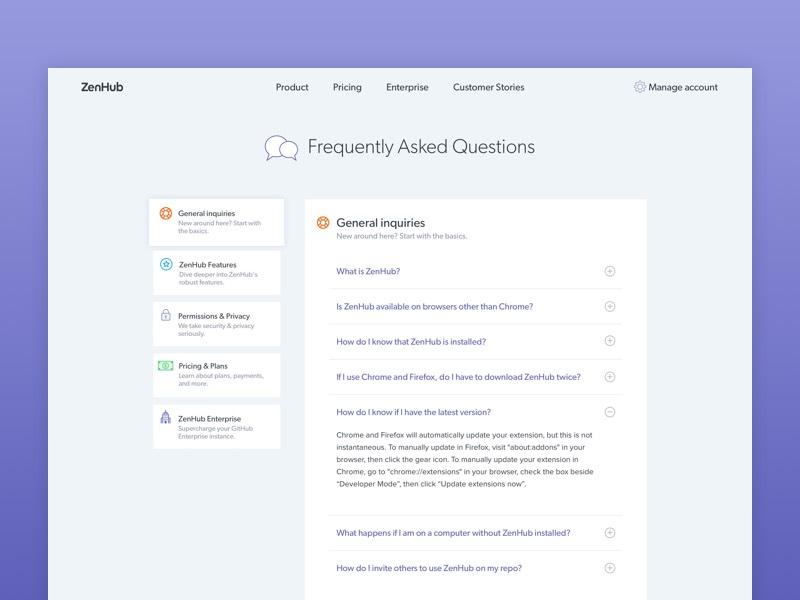ZenHub FAQ interface product simple web website ux ui clean faqs