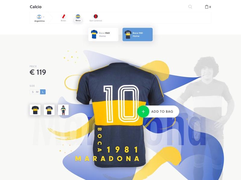 Jersey eCommerce - Boca Maradona vintage jersey buy store typography boca maradona shop ecommerce football minimal ui