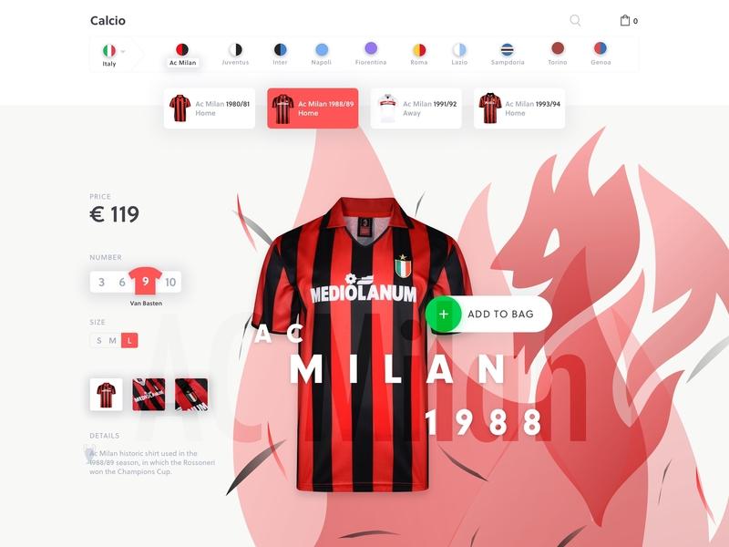Jersey eCommerce - Milan football typography store minimal ui shop ecommerce milan jersey vintage