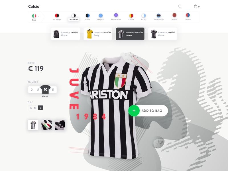 Jersey Shop - Juve football jersey typography ui minimal shop ecommerce platini juve