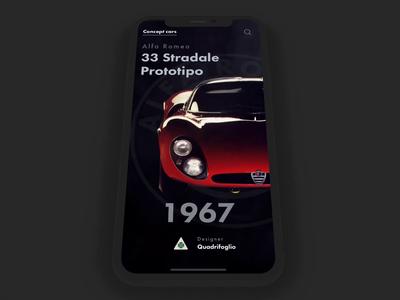 Alfa Romeo 33 Stradale Prototype iphone ios mobile prototype framer classic framer alfa romeo car vintage