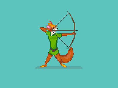 8 Bit Robin Hood bow illustration archery 8 bit disney robin hood