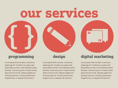 Services website comp icons web design