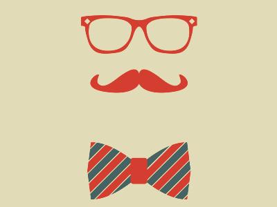 Boyfriend Material posters pro-bono vector moustache glasses bow tie