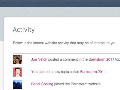 Social Web App Activity social activity