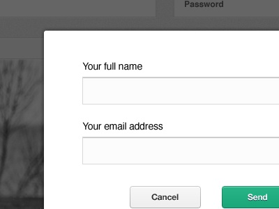 Request Account request modal overlay