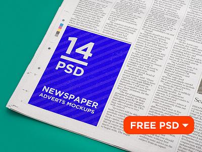 14 Newspaper Adverts Mockups download freebie free psd press template newspaper mockup mock-up daily advertisement advert