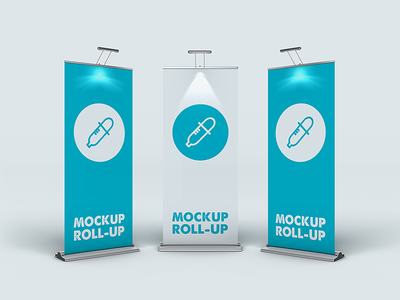 stand display banner roll-up mockup