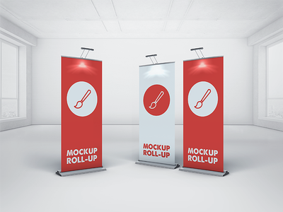 Roll Up Banner Mockup banner display stand mock up mockup roll up roll-up rollup signage stand display trade show free psd