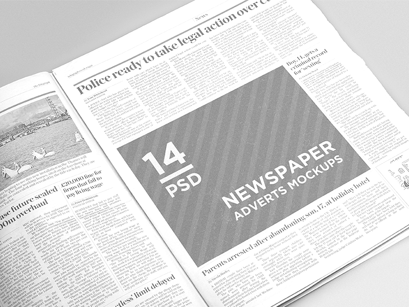 14 Newspaper Adverts Mockups advert advertisement daily mock-up mockup newspaper template press psd free freebie download
