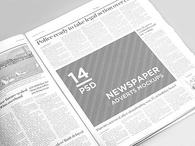 14 Newspaper Adverts Mockups advert advertisement daily mock-up mockup newspaper template press psd free freebie download