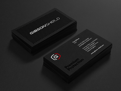 Gibson Shield — Business Cards racing ceramic coatings automotive branding visual identity identity logotype business card business cards