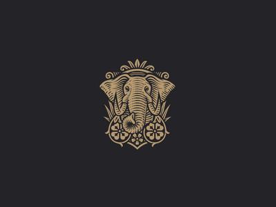 Brambles clover vintage crest elephant illustration engraving