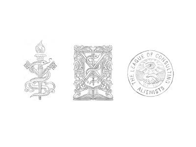 LCA 1 book badge hands eye alienist torch keys snake bookplate crest engraving