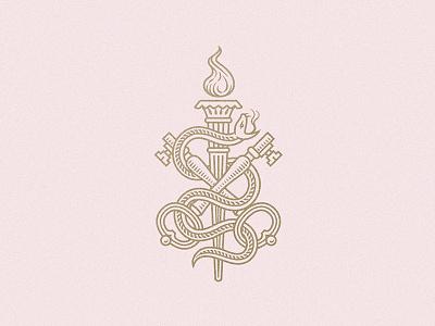 LCA 2 badge logo hands alienist torch keys snake bookplate crest engraving