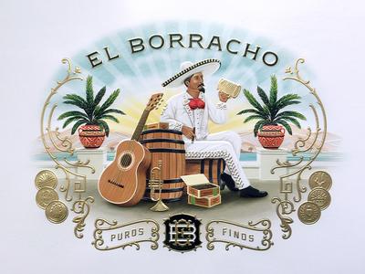 Eb Box Illustration traditional foil gold emboss illustration box classic label tobacco cigar borracho el