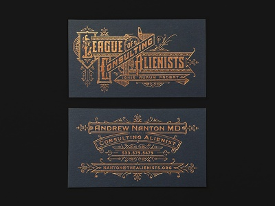 TLCA Business Cards stationery ornate typography vintage identity logo cards business letterpress foil