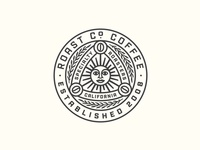 Roast Co Badge sun bean illustration typography packaging roaster coffee badge vintage logo