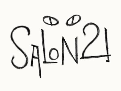Salon 21 Logo Concept logo cat salon 21 music illustrate art nouveau