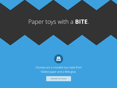 Chomps Website website toy paper blue microinteraction bite