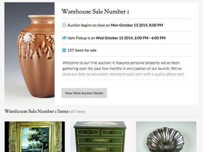 Second Story Auction Site website app auction estate sale grid