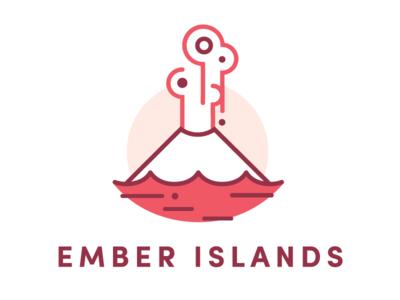 Ember Islands lava ember explosion island ocean smoke volcano logo