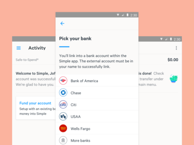 New Customer Funding bank card funding onboarding android ui