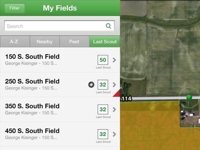 Field Scouting App farm field ipad list sort