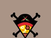 Caribbean pirates pizza caribic logo design