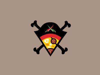 Pizza Caribbean logo designer pavel surovy communication agency symbol brand branding logo design pizza pirates pirate sausage egg eye chilly swords hat hussar