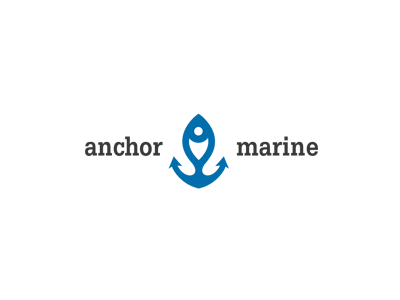 Fish restaurant marina fish boat anchors logo design