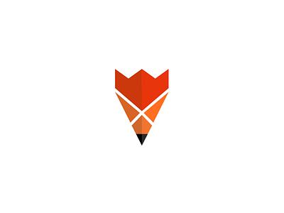 Fox Creative logo design logo designer pavel surovy communication agency symbol brand branding logo design fox pen king crown x