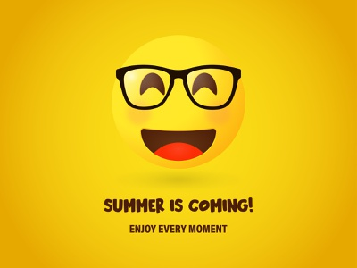 Summer is coming sunglasses orange yellow sun warm weekend holidays design art simple summer emoji smile design sweety product illustration