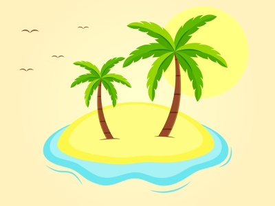 Palm tree waves birds shoreline shore sunny palm palmtree design summer vector illustraion