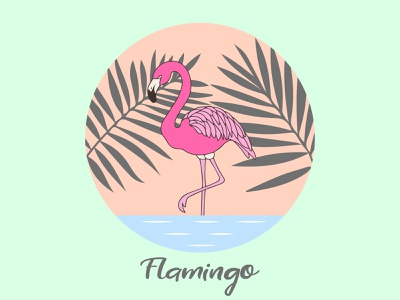 Flamingo with palm leaves. animals waves thesun flamingo trees tree leaves sweety shadow summer dribbble vector illustraion design