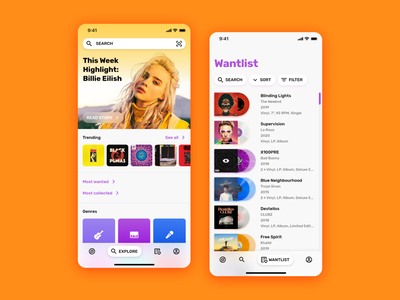 Discogs app redesign concept user interface collection vector application android vinyl music interface ux uiux ui discogs ios app