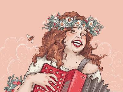This maiden is Funn. character happy woman girl illustrator design children book illustration illustrations children book charcter design book cartoon illustration